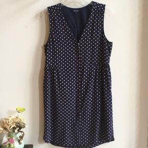 Madewell Navy Blue Polka Dot Silk Dress Size L